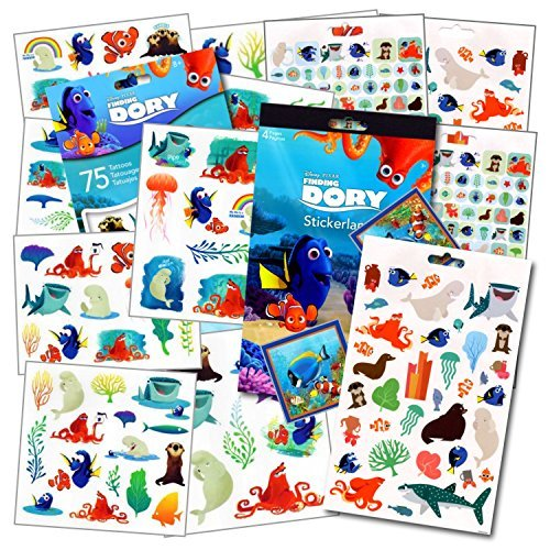 Finding Nemo Tattoos - Disney Finding Dory Party Favors Pack (295 Finding Dory Stickers & 75 Finding Dory Tattoos)~ With Bonus Reward Stickers! by Disney Studios