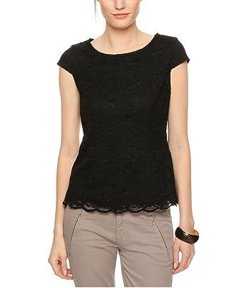 s.Oliver - Blusa de manga corta para mujer, talla 38, color negro ...