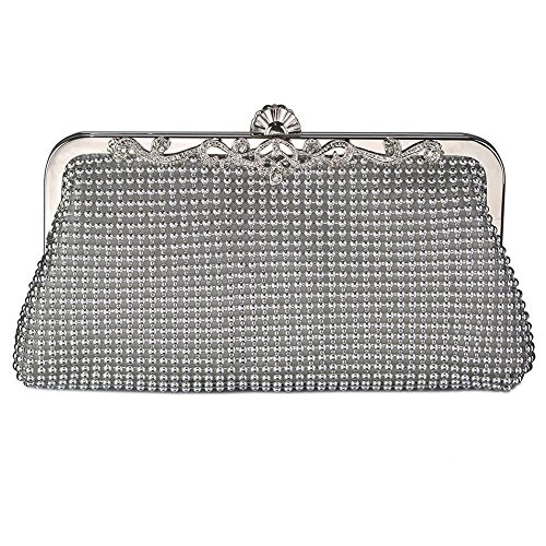 Trim Evening Bag Beaded Silver Clutch Crystal fZnAPqx4