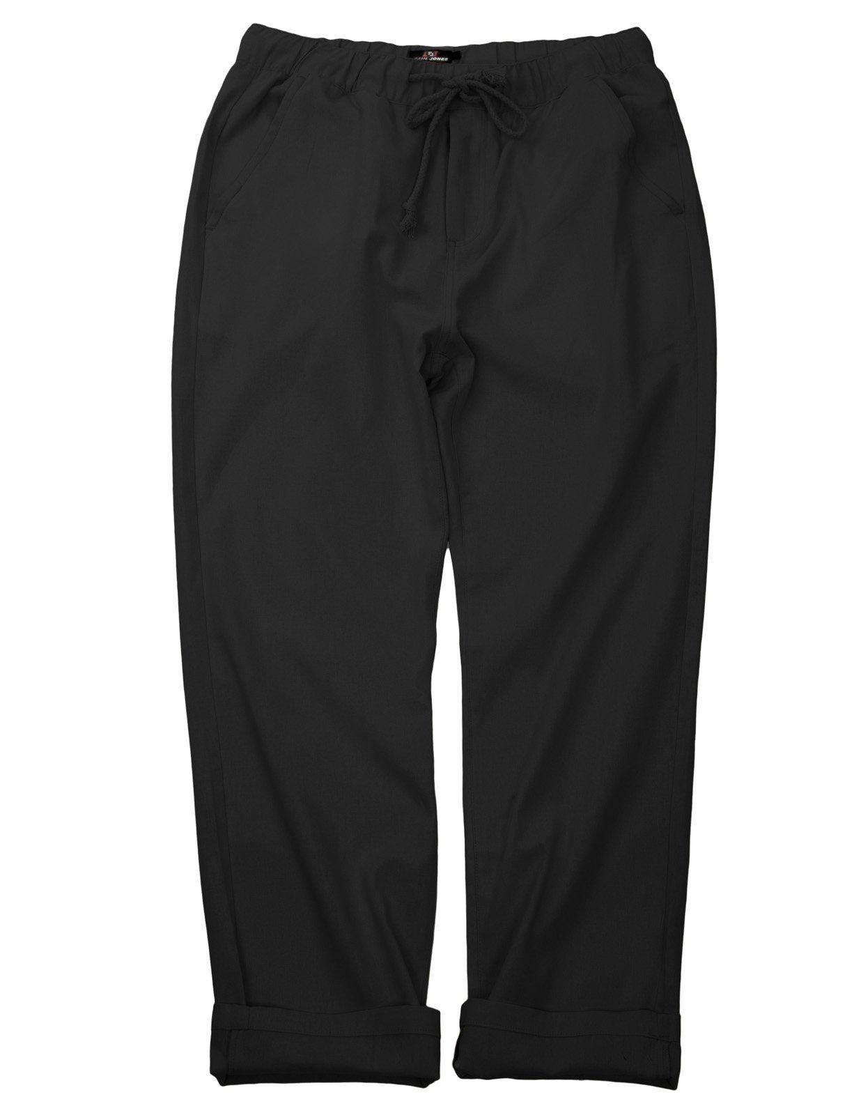 PAUL JONES Men's Linen Summer Pants Elastic Waist Casual Pants