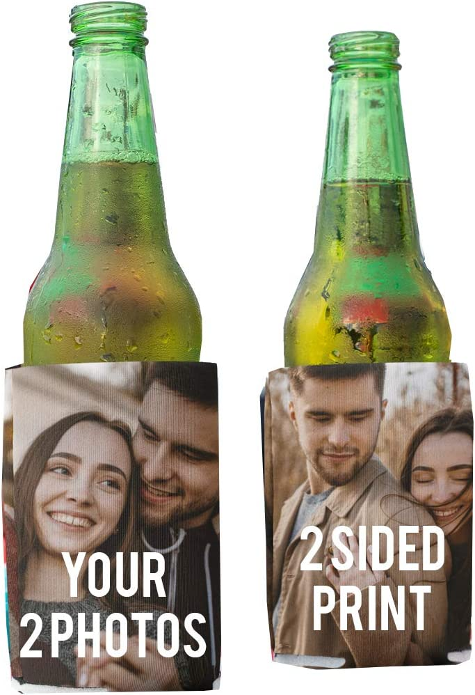 VictoryStore Can and Beverage Coolers: Customizable 2-Photo Wedding Can Coolers - 25pc