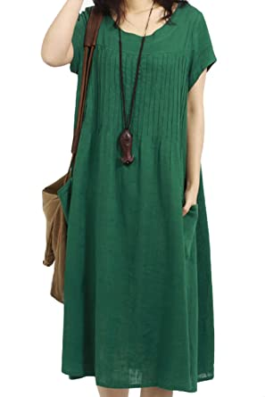 6d55613e07 AsherFashion Women s Short Sleeve Cotton Baggy House Dress with Pockets  Green US XS Asian tag