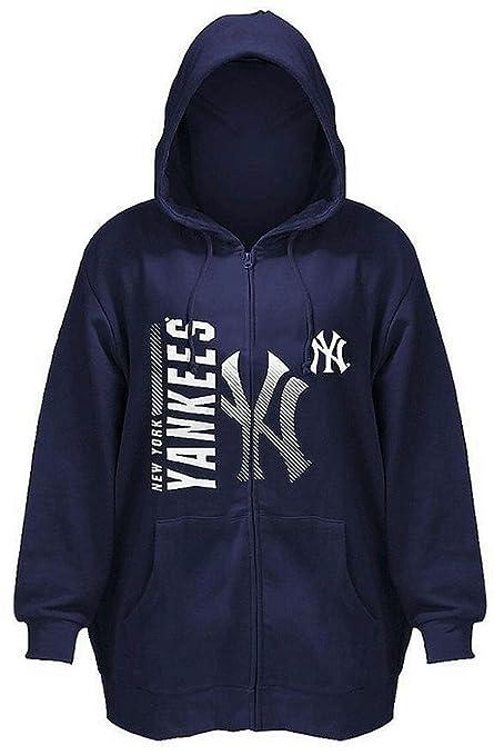 New York Yankees MLB con cremallera completa para hombre Majestic maletero sudadera con capucha azul marino