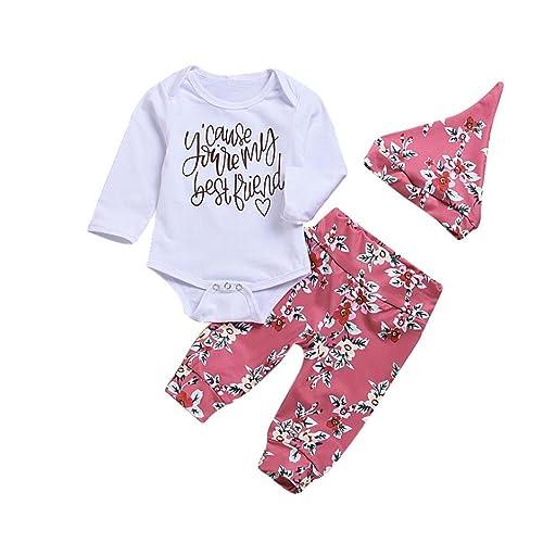 cb8a416a2282b 3 Pcs Newborn Baby Girls Clothes Romper Outfit Pants Legging Set +Hat+ Headband for