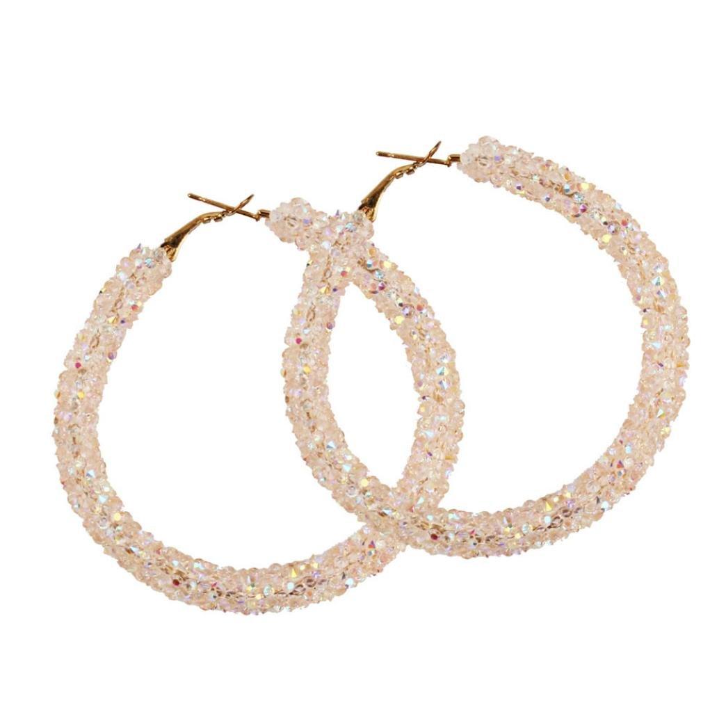 ManxiVoo Fashion Womens Multicolored Hoop Earrings with Full Crystal Rhinestone Big Circle Earring (Pink)