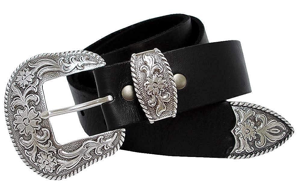 Hagora Men Genuine Full Grain Leather Silver Rope Edged Floral Buckle Belt