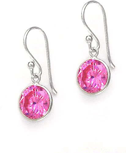 NEW.. A PAIR OF LONG BRIGHT PINK CRYSTAL EARRINGS WITH 925 SOLID SILVER HOOKS