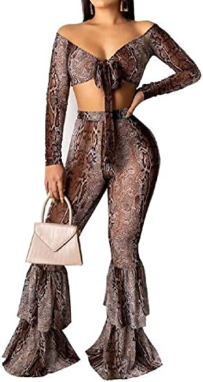 Women Snake-Printed Long Sleeve Ruffle 2 Pcs Crop Top Sexy Bell-Bottom Flare Pants Clubwear Outfit