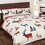 Woodland Stag UK King Size Christmas Duvet Cover and Pillowcase Set