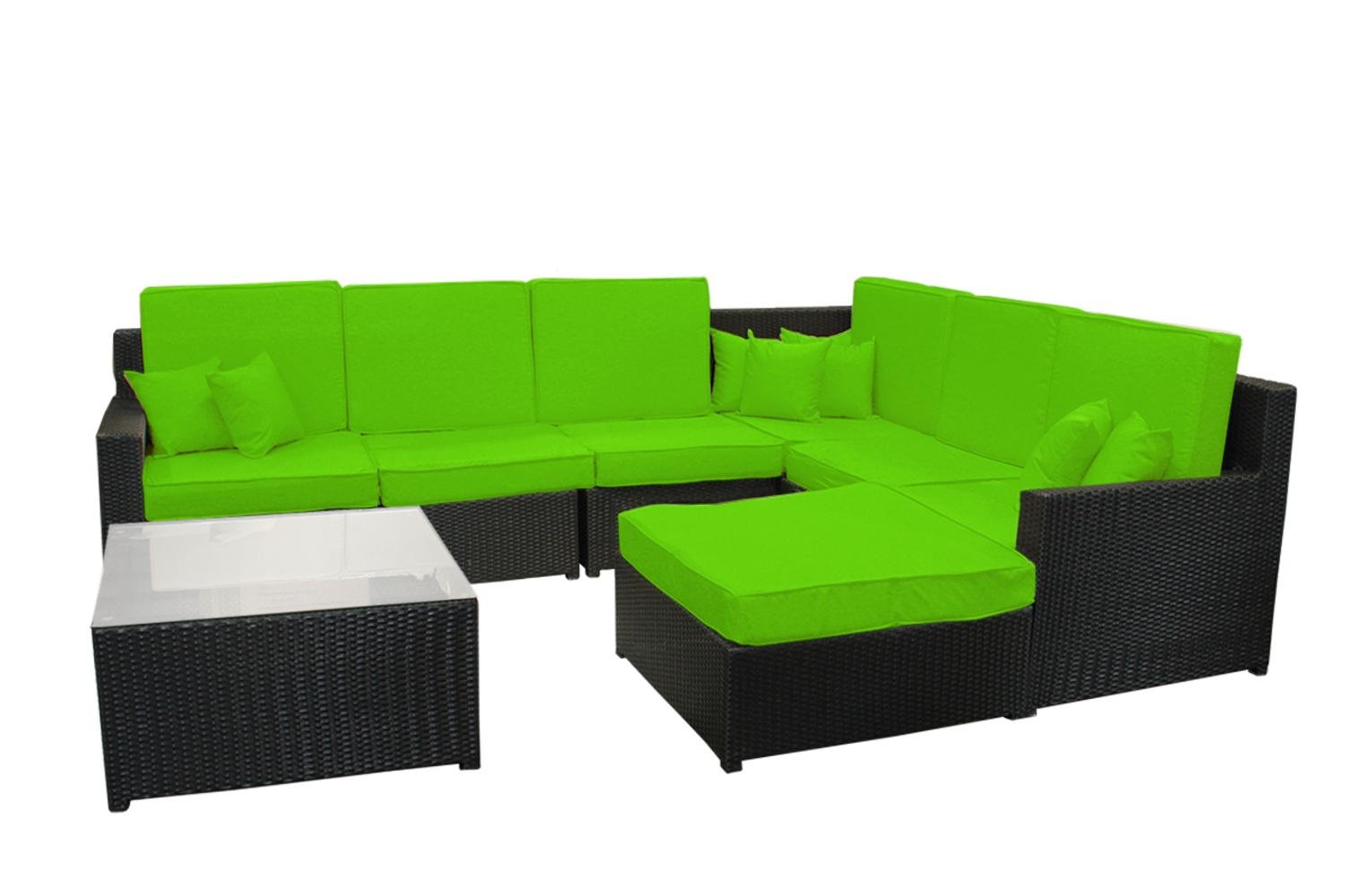Amazon com 8 piece black resin wicker outdoor furniture sectional sofa table and ottoman set lime green cushions garden outdoor