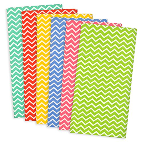 DII 100% Cotton, Basic Everyday 18x18 Buffet Napkin, Set of 6, Multi Color Zig Zag (Chevron Cloth Napkins)
