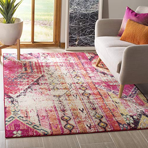 Collection Modern (Safavieh Monaco Collection MNC222D Modern Bohemian Magenta Pink Distressed Area Rug (5'1