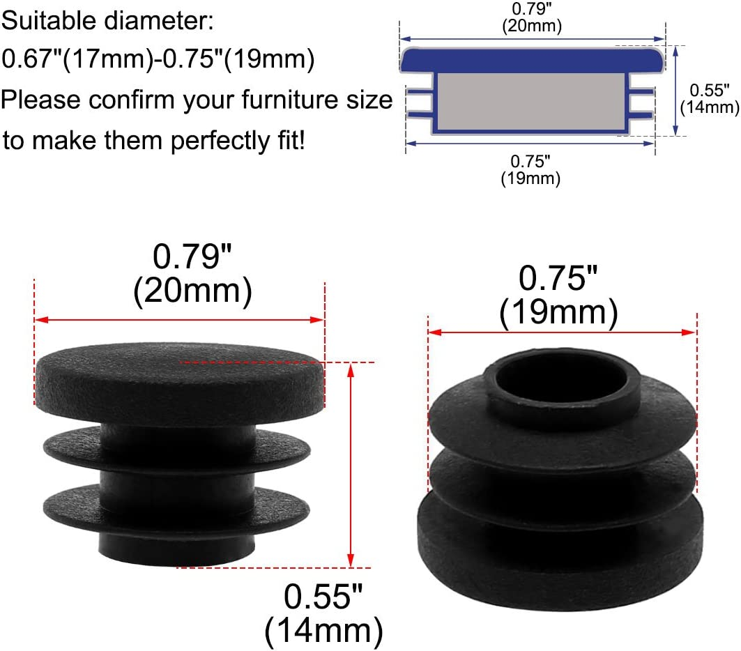 Pfostenkappe Lamellenstopfen 3//4 20mm Au/ßendmr sourcing map 8Stk Plastik runde R/öhre Einsatz 0,67-0,75 Innendmr.