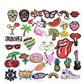 Iron on Patches - LZHOO 35 Pcs Stickers, Cute DIY Clothes Patches Stickers Embroidery Applique for Sewing or Iron-on for T-Shirt Jeans Clothes Bags