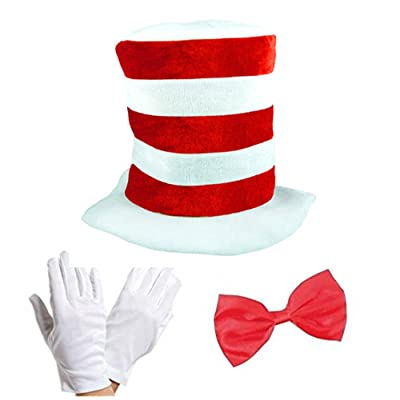 Adult Cat in the Hat Bow Tie & Gloves Kit Fancy Dress World Book Day: Juguetes y juegos