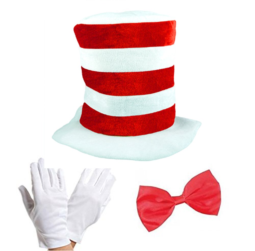 19ece2d6ed2 Adult Cat in the Hat Bow Tie   Gloves Kit Fancy Dress World Book Day ...