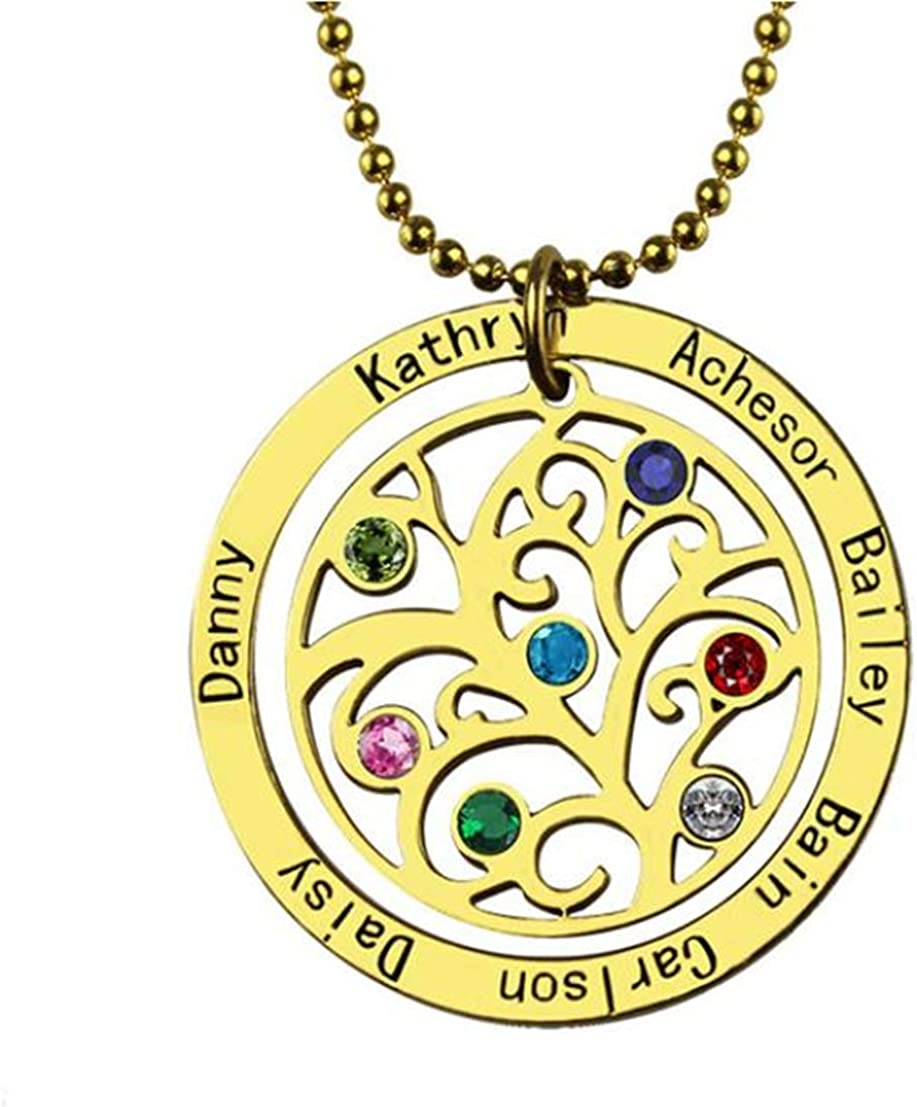 925 Sterling Silver Necklace Family Tree Birthstone Necklace Gift for Women//Mom