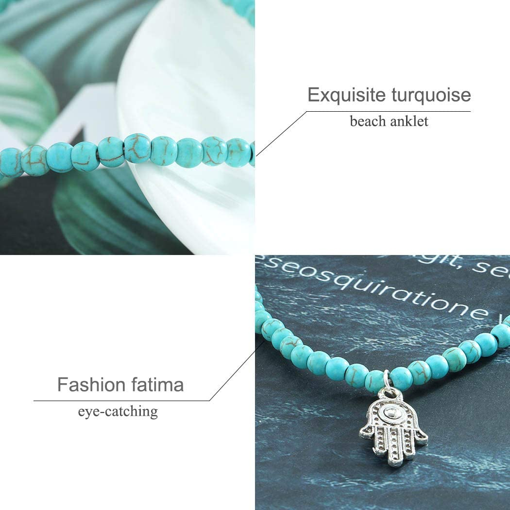 Liraly Anklet for Women Girls Boho Beads Hamsa Fatima Anklets Foot Chain Beach Jewelry