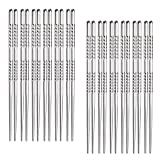 #2: Hiware 12-Pairs Reusable Metal Chopsticks - 9 Inch Length Stainless Steel Spiral Chopstick Set