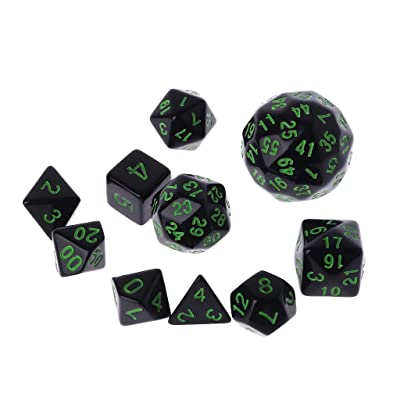 YOUSIKE 10 Pcs/Set Game Dice Multi Sided Dices Mixing Party Games Club Gifts Creative Adult Children for Dungeon D & D Games Play Green: Toys & Games