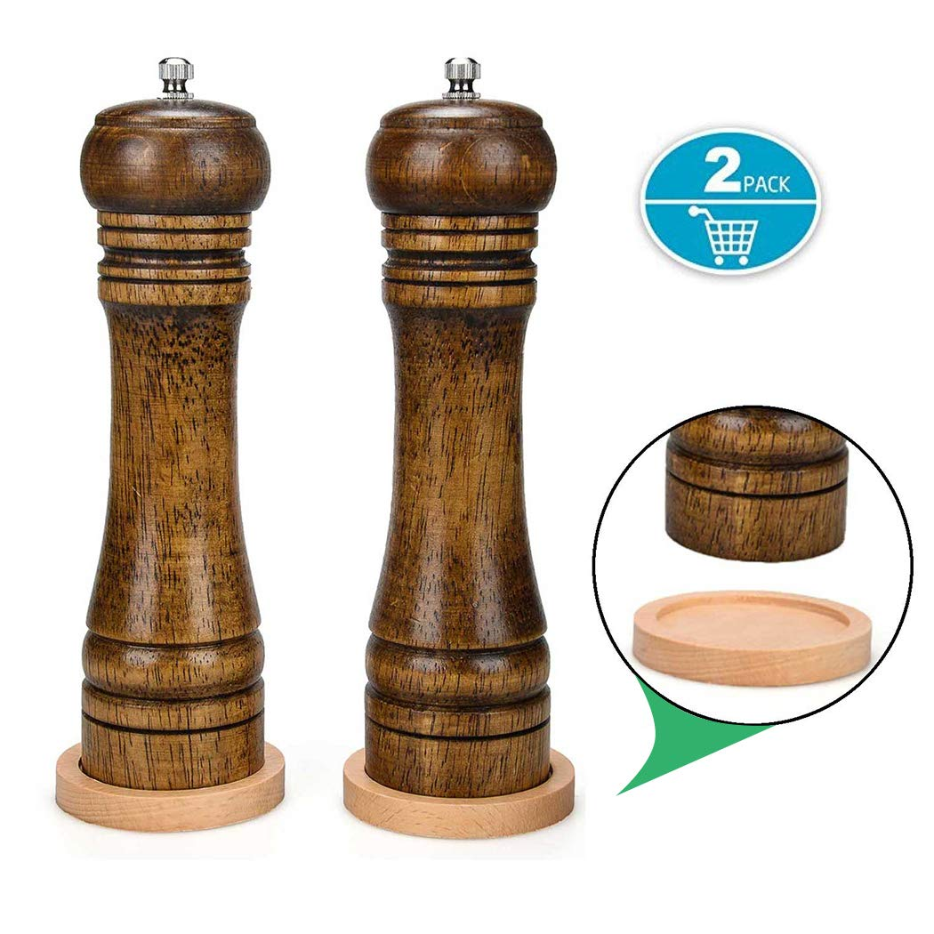 Salt Pepper Grinder Wood - Pepper Mill Wood Pepper Shaker with Adjustable Ceramic Core 8 Inch (2 Pack)