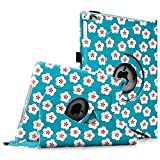 Fintie iPad Air 2 Case - [Oriental Breeze Series] 360 Degree Rotating Stand Case with Smart Cover Auto Sleep / Wake Feature for Apple iPad Air 2 (iPad 6) 2014 Model, Floral Blue