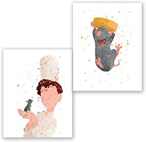 PGbureau Ratatouille Posters – Set of 2 Art Prints – Party Supplies Decoration – Kids Room Wall Decor - Nursery Watercolor Artwork (8x10)