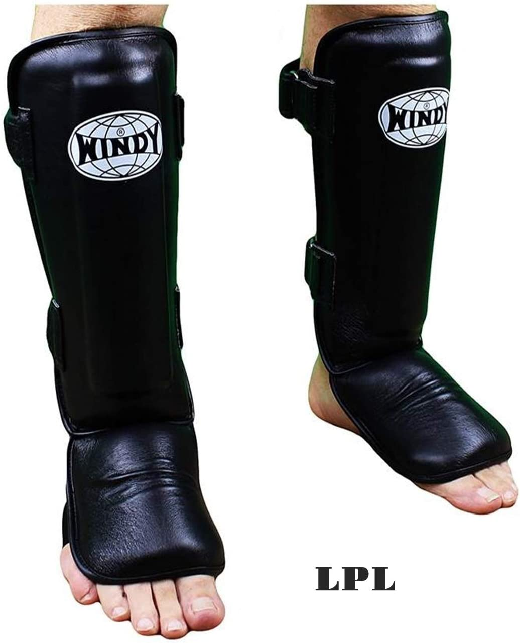 WINDY SHIN GUARDS PRO STYLE BLACK M,L,XL GENUINE LEATHER TRAINING  MMA K1