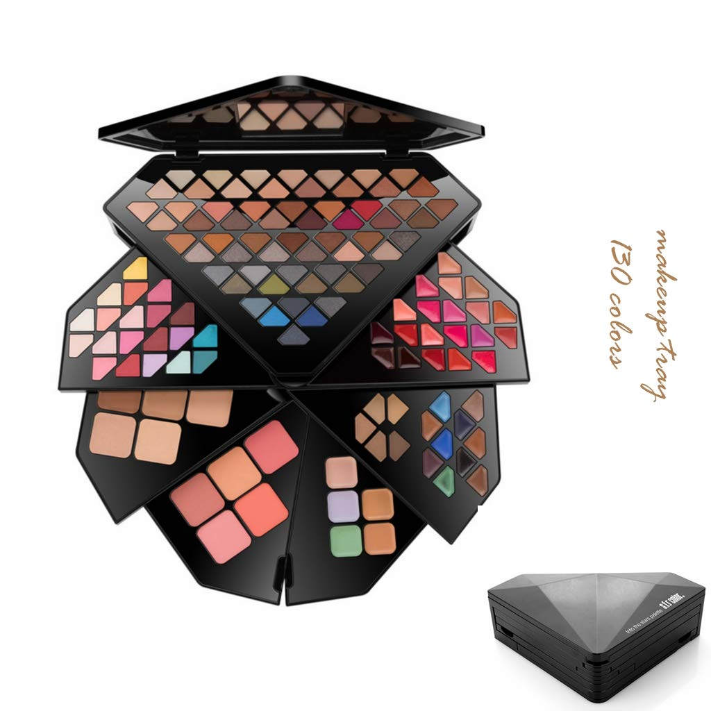130Colors makeup Palette 60 colors matte eyeshadow 20 colors popl eyeshadow 5 colors high light powder 5 colors blush 5 colors brow powder 10 Cream eyeliners 5 colors concealer 20 colors lipstick tray by vkjany
