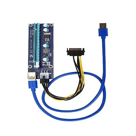 yuhaotian 6 pines Powered PCI-E 1 X a 16 X Cable de extensión USB 3.0