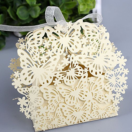 Sorive® 50 Pack Laser Cut Butterfly Wedding Favor Box Birthday Shower Party Candy Boxes Bomboniere with Ribbons Bridal Shower Wedding Party Favors SORIVE0031 -