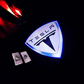 2 of A Set,Red Shadow Car Door Courtesy Welcome Light Laser Emblem Logo Kit Ghost Shadow Lights Logo Chips Replacement Compatible Model S Model X Model 3