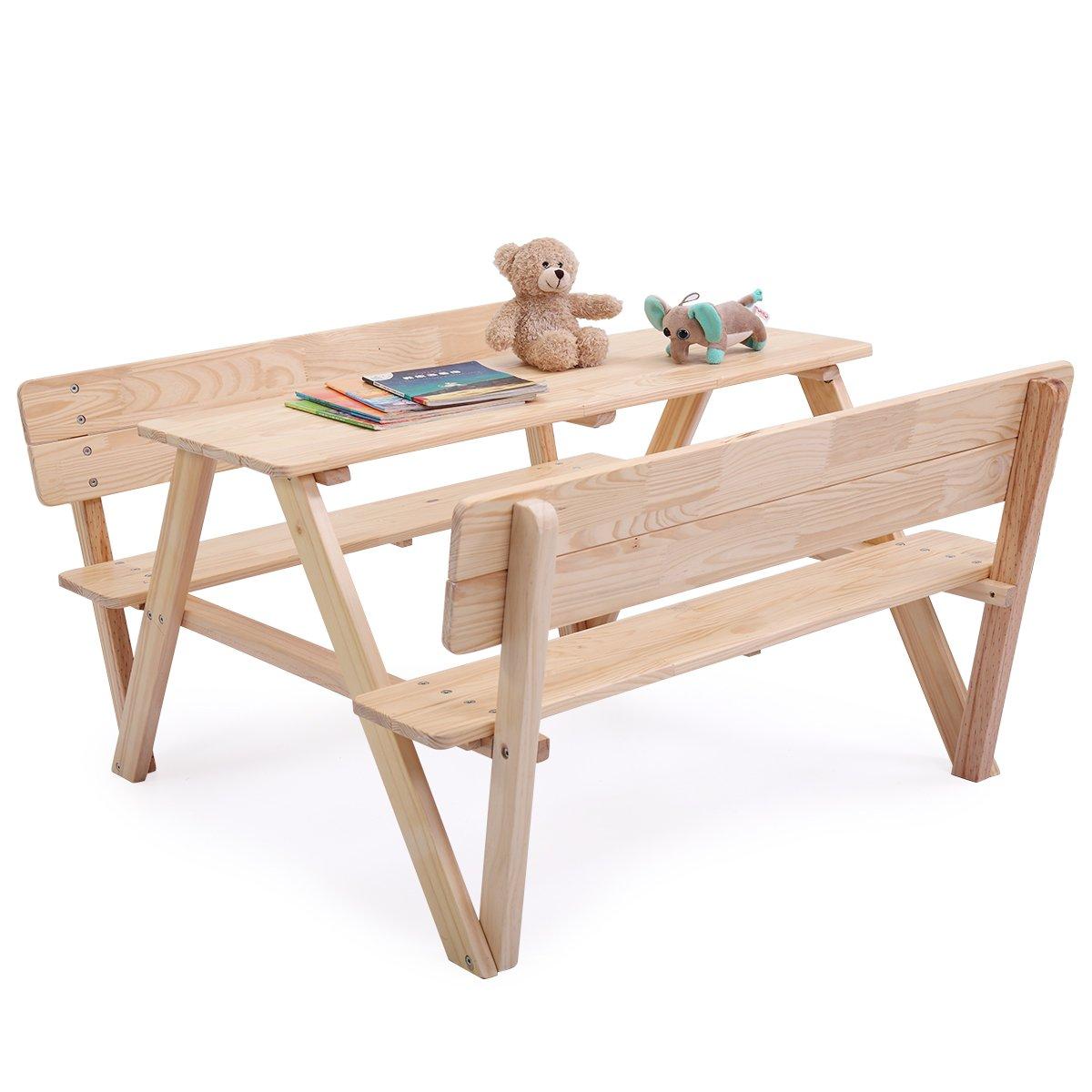 Tobbi Kids Table Bench Set Children Wooden Picnic Bench Play Seat W/Backrest