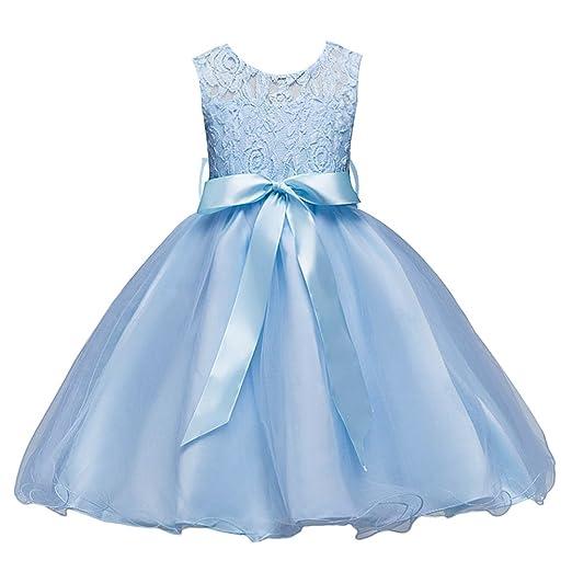 17037d712b8 IBTOM CASTLE Girls Kids Short Lace Tulle Tutu Dress Princess Party Wedding Bridesmaid  Formal Gown Azure