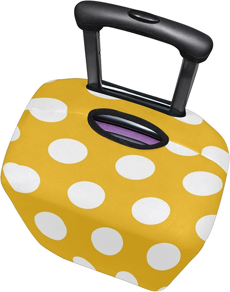 LAVOVO White Polka Dots Yellow Luggage Cover Suitcase Protector Carry On Covers