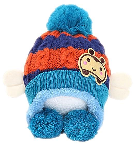 241e17f63dd X F Baby Boys and Girls Cute Bee Warm Winter Earflap Beanie Hats Knitted Cap  Blue