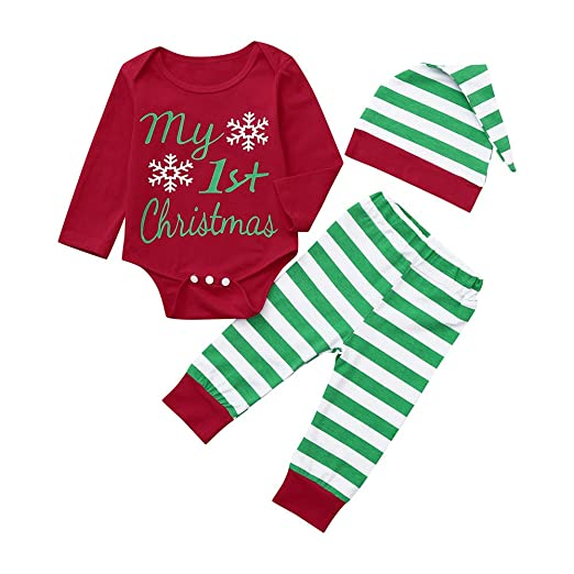 e1b8a2ee94d0 Amazon.com  FTXJ 2 PCS Newborn Infant Baby Boy Girl Romper Tops+Striped  Pants+Hat Christmas Outfits Set  Clothing