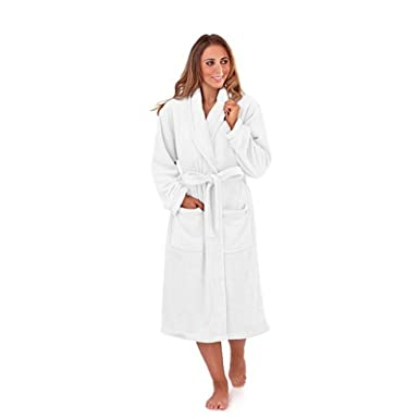 940386e33f NEW LUXURY WOMENS FULL LENGTH FLEECE BATH ROBE DRESSING GOWN HOUSECOAT+ BELT  POCKETS COLLAR LADIES WHITE SMALL  Amazon.co.uk  Clothing