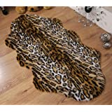 Jaguar animal print faux fur sheepskin double rug 70 x 140 cm