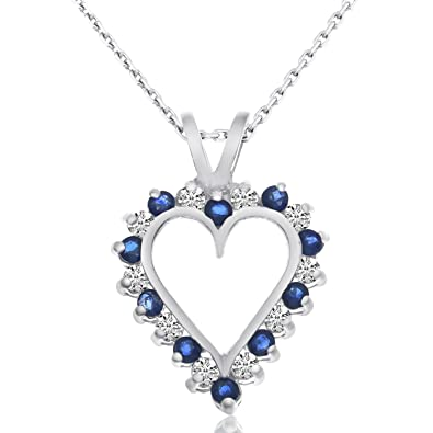 Amazon 14k white gold sapphire and diamond heart pendant with 14k white gold sapphire and diamond heart pendant with 18quot aloadofball Image collections