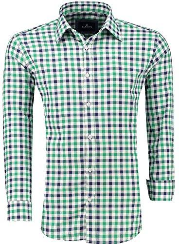 BARBONS PREMIUM Herren-Hemd Modern-Fit / Langarm Kariert / Freizeit Casual Business , Grün XL