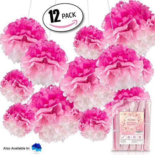 12pcs 3 Color Tissue Paper Pompom For Your Special Wedding Baby Shower Or Birthday Party Decoration (Pink)