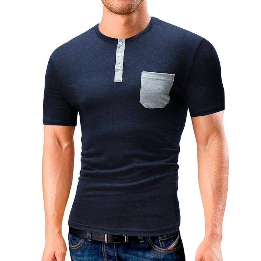 GREFER New Men's Summer Casual Pocket Solid Button T-shirt Short Sleeve Top Blouse