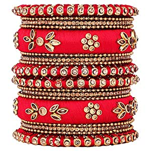 Aheli Handmade Royal Design Silk Thread Bangle Set Matching Chuda Indian Traditional Wedding Jewelry for Women