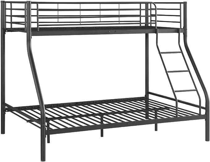 IKAYAA BND8301 - Somier litera de Hierro,Capacidad 150kg + 200kg,Color Negro (Twin-Over-King,fundación Caja de colchón,reemplazo del Resorte)