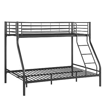 ikayaa twin over full bunk bed metal frame with ladder kids bedroom furniture - Bunk Beds Metal Frame