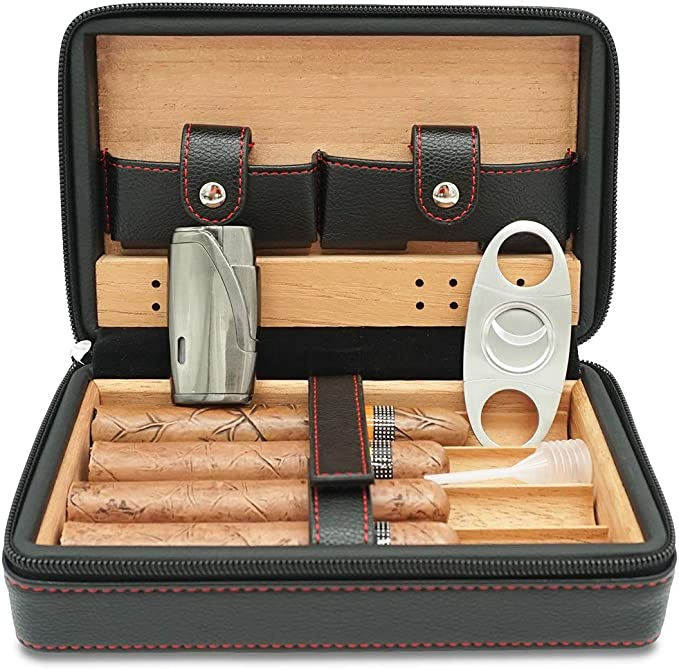 Rhino Leather Covered Cigar Tube Case Cedar Lined Gift Boxed 297