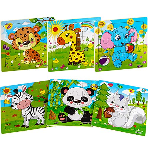 Aitey Wooden Jigsaw Puzzles for Kids Ages 2-4 Toddler Puzzles 9 Pieces Preschool Educational Learning Toys Set Animals Puzzles for 2 3 4 Years Old Boys and Girls (6 Puzzles) (Best Wooden Jigsaw Puzzles)