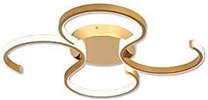 Chandelier 2-Light Ceiling Light LED Linear Flush Mount Lights Ambient Light Brushed Gold Metal 110-240V Warm White for Living Room Kitchen, 51 X 49Cm Wall lamp