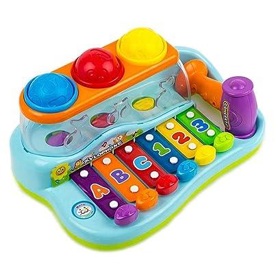 Juguetes para bebés Knocking creativas 3 xilófonos bolas instrumentos de percusión multifunción en color niños pequeños plástico impacto música de los juguetes Mecanismo Juguetes para chicos, chicas: Juguetes y juegos